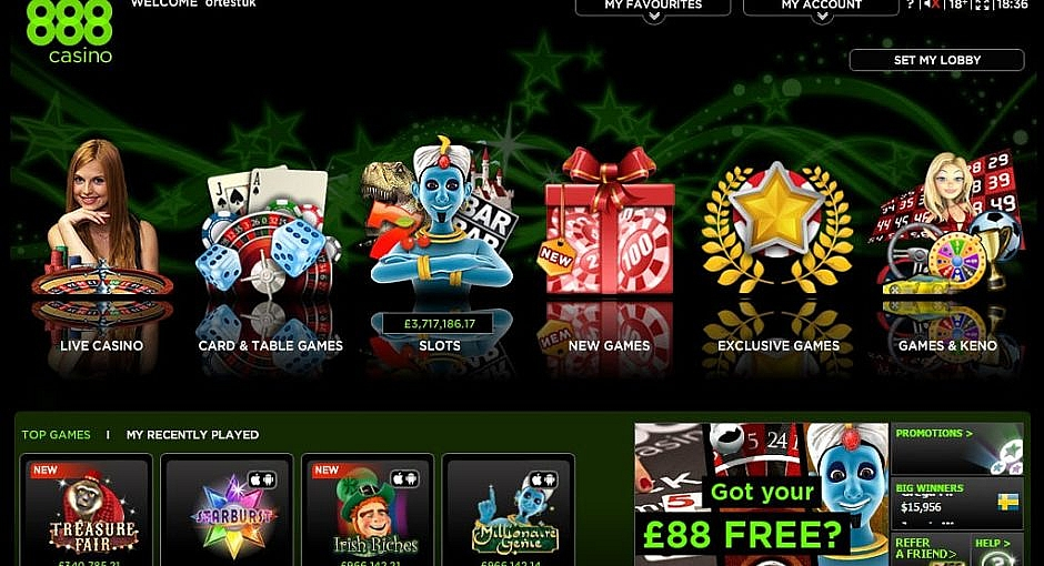 888 Casino Lobby Games Categories